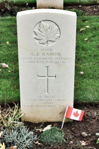 Grave marker for Major Rainnie near Juno Beach.